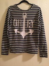 XS OBEY NAVY WHITE STRIPED ANCHOR SWEATER SWEATSHIRT LONG SLEEVE TOP