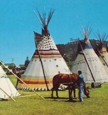 Postcard, 1959 Indian Tepee Villiage Calgary Ex. Alberta Canada, Vintage P23