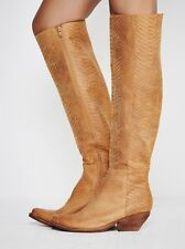 Jeffrey Campbell Womens Limitless Tall Leather Boots Tan Oiled Snake 9 NWB