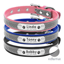 Reflective Dog Collar Personalised PU Leather Padded Collar For Small Medium Dog