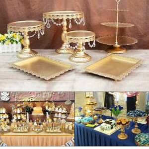 6PCS Cake  Stand Display Dessert Holder Wedding Party Crystal Gold Round  UK