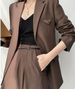 Spring Women Female Casual New Suit Two-piece Suit Coffee Mid-Length Blazer Suit
