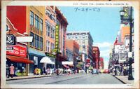 1953 Linen Postcard: Fourth Avenue, Looking North - Louisville, Kentucky KY