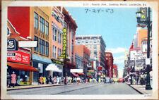 1953 Linen Postcard: Fourth Avenue, Looking North - Louisville, Kentucky KY