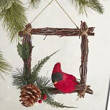 Pier 1 Berry Christmas Collection Red Bird in Frame Wreath Ornament
