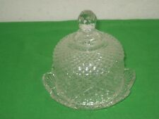 Vintage Round Waterford Covered Clear Crystal Glass Butter Dish Dome Lid