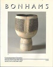 BONHAMS Contemporary Ceramics Rie Coper Leach Hamada Cardew Fritsch Catalog 1990