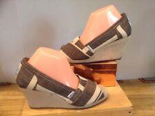 Tom's Women Natural Woven Fabric Platform Wedge Heels Shoes Sandals Open Toe SZ9