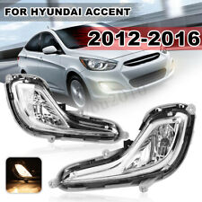 For Hyundai Accent 2012-2016  Front Bumper Fog Lamp Light Clear Lens w/Bulbs