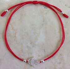 Sterling Silver 925 Hamsa Hand of Fatima Evil Eye Red Cord Bracelet (Silver)