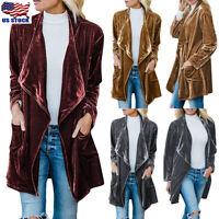 US Women's Velvet Jacket Coat Open Front Cardigan Waterfall Parka Trench Outwear