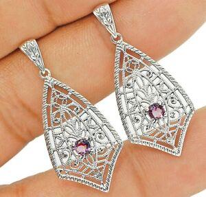 Amethyst 925 Solid Sterling Silver Filigree Earrings Jewelry 1'' Long VE4