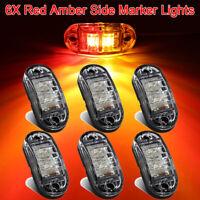 6Pcs 2 LED Red Amber Front Side Marker Indicator Light Orange Truck Trailer Lamp