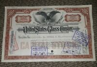 STOCK CERTIFICATE 7 Shares US UNITED STATES GLASS COMPANY CO Pennsylvania OLD!