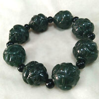 Chinese Hand Carved jade lotus flower Bead Natural  Hetian jade  Bracelet
