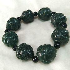 Chinese Hand Carved jade lotus flower Bead Natural  Hetian jade  Bracelet