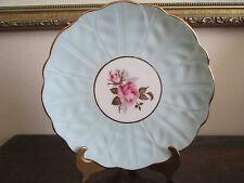 "Aynsley England Dessert Plate Cabbage Pink Rose Lidht Blue Gold 6 1/4"""