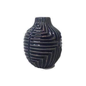 West Elm Handcrafted Vase Blue Distressed Glazed Terra Cotta