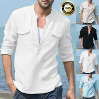 Men Casual Baggy Cotton Linen Pocket Solid Long Sleeve Retro T Shirts Top Blouse