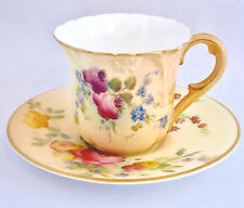Royal Worcester Miniature Tea Cup Saucer Hand Painted Roses Floral Blush Vtg