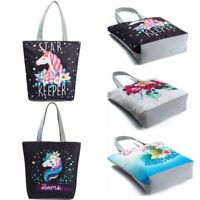 Women Unicorn Shoulder Large Shopping Bag Beach Satchel Canvas School Handbag