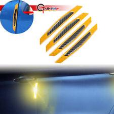 Yellow carbon fiber car accessories Door Scratch Bumper Scuff trim Stickers x 4