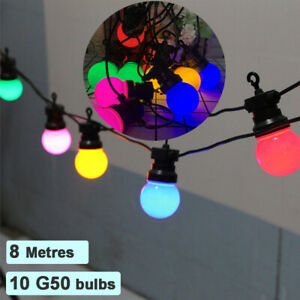 8M Mains Power G50 Bulb Multicolored String Lights LED Fairy Light Outdoor Fence