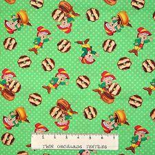 Candy Fabric - Kellogg Keebler Elf Cookie Toss Green - Springs YARD