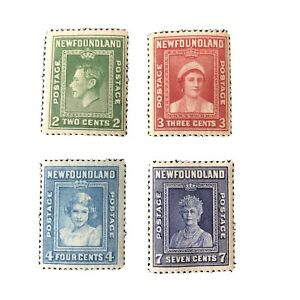 NEWFOUNDLAND, SCOTT #  245-248(4), COMPLETE SET 1938 ROYAL FAMILY ISSUE MLH