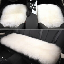 White Car Chair Sheepskin Wool Seat Covers Cusion Pad Front+Rear Covers
