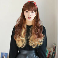 Ombre Golden Brown Cosplay Wig Women Heat Resistant Long Curly Hair Full Wigs