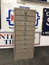 "Vintage Metal 9 Drawer Parts Bin Utility Cabinet Industrial 30"" Tall"