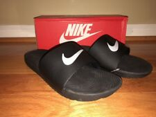 Men's NIKE KAWA Slide Sandals Size 8 Black White Swoosh 832646 010 New with Box