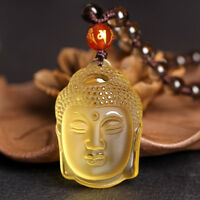 Chinese Buddha Delicate Yellow Crystal Necklace Pendant Lucky Citrine Amulet Hot