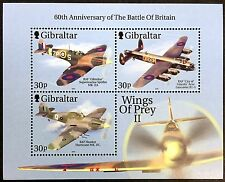 2000 GIBRALTAR WORLD WAR II STAMP SHEET OF 3 BATTLE OF BRITAIN AIRCRAFT AIRPLANE