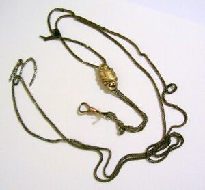 Antique Watch Chain with Ornate Slide & Clasp  (as is)