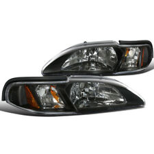 94-98 Ford Mustang Black Headlights w/Amber Reflector SVT Cobra Convertible GT