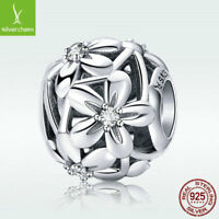 Hollow Flower 925 Sterling Silver Bead White CZ Charm For Fashion Bracelet Chain