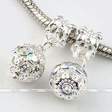 5x Dangle Ball Crystal European Loose Beads Fit Charms Snake Bracelet DIY