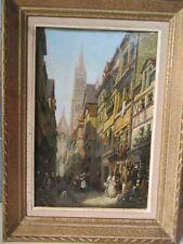 Pauline Delacroix-Garnier 1863-1912.V.ue de ville animée:33x21cm