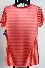 Reebok Womens Burgundy Orange Striped Short Sleeve Top Tee Shirt M Nwt New