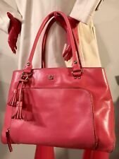 KATE SPADE New York TOTE👜 Chic Bag Big Purse👛Coral Pink Leather Tassel Fob EUC