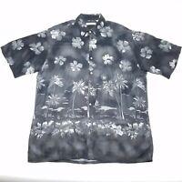 Campia Moda Black Hawaiian Short Sleeve Shirt Mens Size Large L 100% Rayon