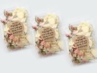 50 Real Petal Natural Wedding Confetti Bags Pink Ivory Biodegradable Throwing