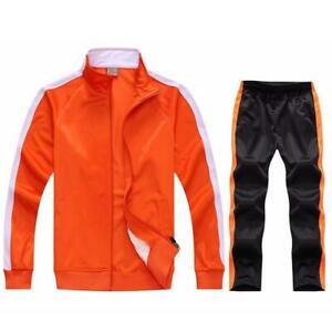 New Fashion Men Gym Sport Football Track Suit Soccer Training Jacket+ Pant sets
