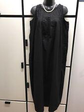 Kapital Japan S Cotton Black Pin Tuck Jewel Neck Elongated Oval Maxi Dress