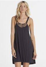 NWT Billabong Great Views Tank Dress Crochet Back Off Black XS retail $44.95