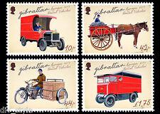 Postal véhicules Jeu de 4 Timbres MNH 2013 Gibraltar Cheval Vélo Camion #1386-9