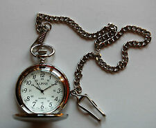 "Mens Pocket Watch with silver coloured 14"" chain & clip + FREE battery UK Seller"