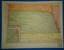 Vintage Circa 1952 Nebraska Map Old Original Atlas Map - Free S&H